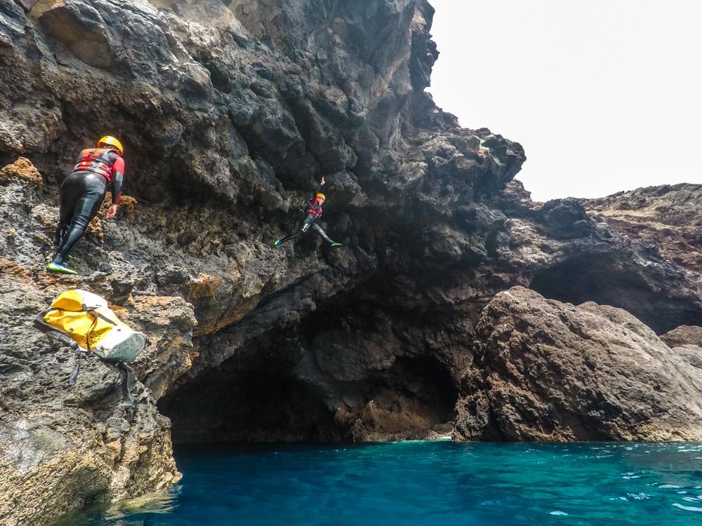 coasteering adventure Madeira jump cliff